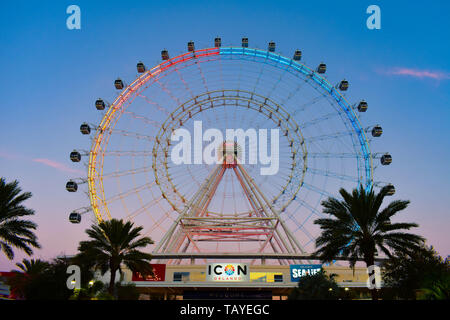 Orlando, Florida. January 19 , 2019 . Top view of Big Wheel on colorful sunset background in International Drive area (2)