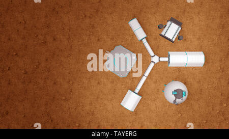 space base on Mars top view. 3d rendering - Stock Photo