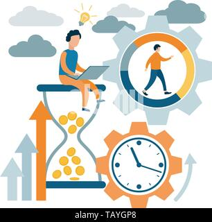 Time management, control. Time is money. Lack of time. Vector illustration flat design. - Stock Photo