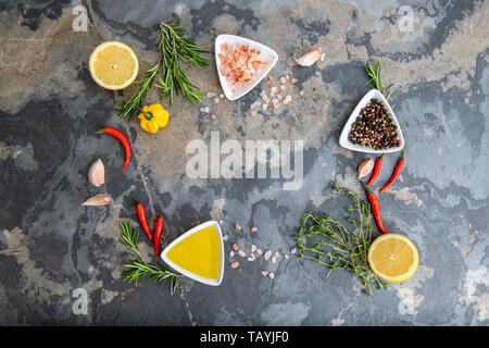Healthy food clean eating selection: fruit, vegetable, seeds, superfood, cereals, leaf vegetable on gray concrete background copy space - Stock Photo