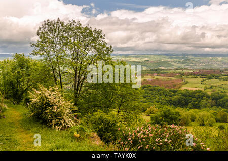 French countryside landscape in Loubressac region of Midi Pyrenees. lot department - Stock Photo