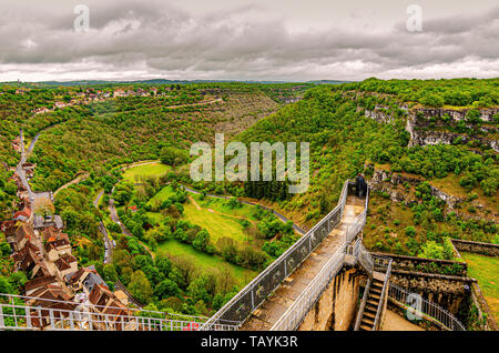 Panoramic view of the village of Rocamadour the Alzou river valley and the Causse calcareous mountains. Department of Lot Occitania France. - Stock Photo