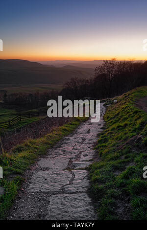 UK,Derbyshire,Peak District,Sunset looking West from footpath near Mam Tor - Stock Photo