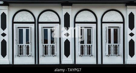white color ancient old building facade - Stock Photo