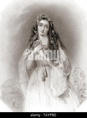 Ophelia.  Principal female character from Shakespeare's play Hamlet. From Shakespeare Gallery, published c.1840. - Stock Photo