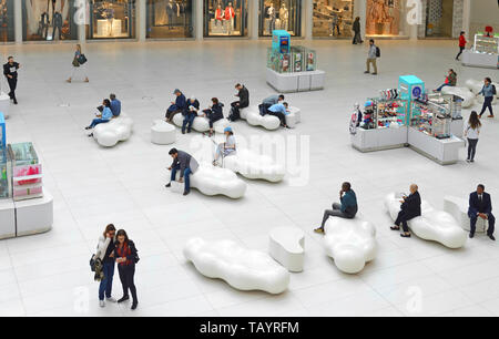 Westfield World Trade Center, shopping center at World Trade Center complex in Manhattan. People in Mall inside Oculus - Stock Photo