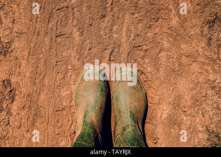 Farmer in rubber boots standing on dirt road, top view - Stock Photo