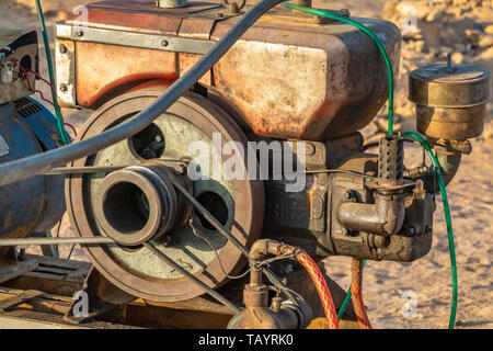 Close-up view of a motor for a pump for pumping water in Sudan, Africa - Stock Photo