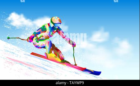 Colorful figure-silhouette of a skier on skis. Athlete skier against the sky and the sun. The athlete on mountain skiing is active, performs downhill  - Stock Photo
