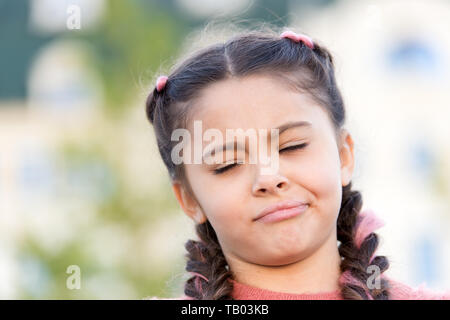 Have some doubts. Girl emotional face. Thoughts and doubts concept. Kid doubtful beautiful face. Emotions concept. Thoughtful girl hesitating making decision. Having fun. Sincere emotional kid. - Stock Photo