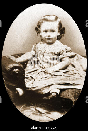 A portrait of John Galsworthy as a two year old toddler child (1867-1933) -  Edwardian English novelist and playwright who wrote (amongst others) The Forsyte Saga trilogy. - Nobel Prize winner in Literature. - Trained as a lawyer - Pen name for first novel was John Sinjohn. Turned down knighthood - Stock Photo