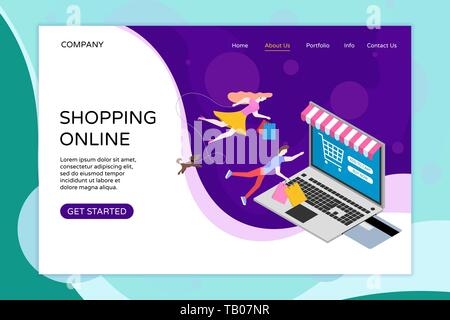 Shopping online web landing page template. Bank card inserted into laptop with shop canopy. Man woman keep shopping bags and dog fly in space. Modern