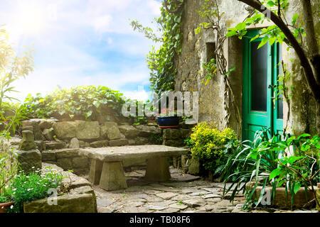 Idyllic place in the medieval artist village Groznjan, Istria, Croatia - Stock Photo