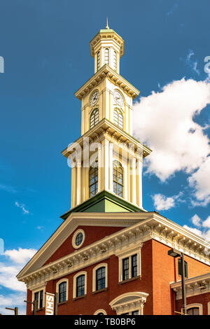 Baltimore, Maryland, USA - July 8, 2017: Clock tower on the restored Camden Station, originally built in 1856. The building now houses the Sports Lege - Stock Photo