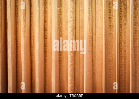 Golden orange fabric curtain texture background - Stock Photo