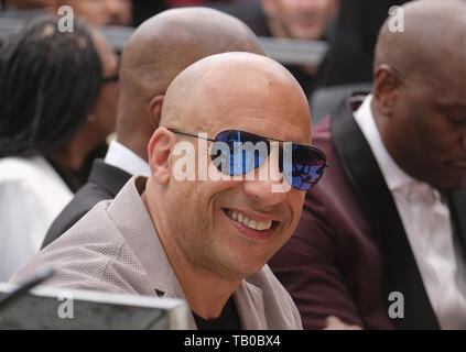 May 28, 2019 - Los Angeles, California, U.S - Vin Diesel attends F. Gary Gray star ceremony on the Hollywood Walk of Fame in the Category of Motion Pictures, on Tuesday, May 28, 2019, in Los Angeles (Credit Image: © Ringo Chiu/ZUMA Wire) - Stock Photo