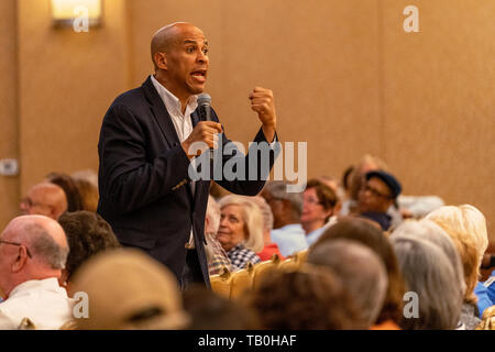 Democratic presidential candidate, Sen. Cory Booker, speaks during a campaign event in Henderson, Nevada. Senator Booker spoke to attendees about his gun violence prevention plan and reproductive rights proposal.