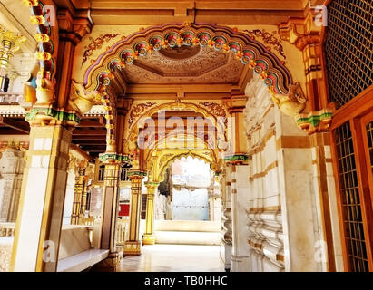 Exterior wooden architecture of Swaminarayan Temple, Kalupur, Ahmedabad in Gujarat, India. - Stock Photo