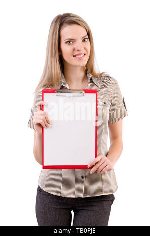 Young woman holding blank isolated on white - Stock Photo
