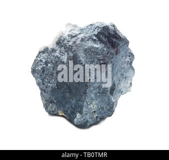 Specimen of geological collection mineral Enargite (Copper ore) stone isolated on white background; macro shooting - Stock Photo