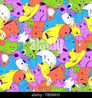 Cute monster party vector kids seamless pattern. Background with colored monsters. Illustration of bizarre monster - Stock Photo