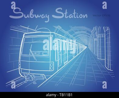 Hand drawn ink line sketch Saint Petersburg subway station, train in outline style perspective view. - Stock Photo