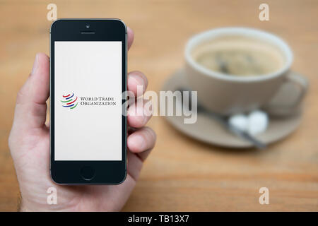 A man looks at his iPhone which displays the World Trade Organization logo (Editorial use only). - Stock Photo
