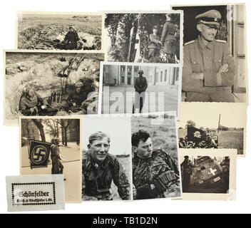 A large original photo grouping of a member of SS Infantry Regiment no. 2 in SS Panzergrenadier Division Leibstandarte Adolf Hitler, The circa 550 photos have reverse inscriptions for the most part and are in sizes from 6 x 7 cm to 13 x 18 cm. Subjects comprise training, partly at the Junker School in Braunschweig, service in Berlin among which are rare images directly from the new Reich Chancellery, and predominately operations in France and Russia. Excellent uniform-related material (camo uniforms), trenches, tanks and vehicles, award ceremonies, parades. Portraits with c, Editorial-Use-Only - Stock Photo