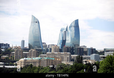 General view of the city of Baku before the UEFA Europa League final at The Olympic Stadium, Baku, Azerbaijan. - Stock Photo