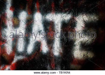 Embargoed to 0001 Thursday May 30 File photo dated 21/03/17 of graffiti on a wall in Bristol. The number of race hate crimes against children has risen by a fifth, figures suggest. - Stock Photo