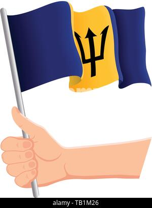 Hand holding and waving the national flag of Barbados. Fans, independence day, patriotic concept. Vector illustration, eps 10. - Stock Photo