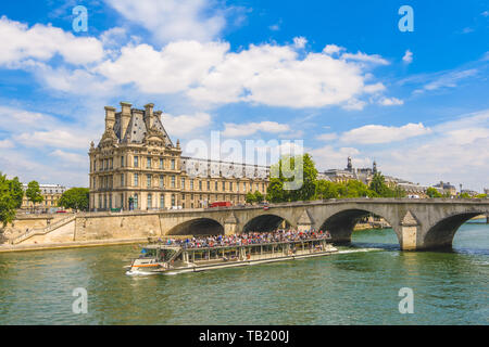 View of the museum Louvre and Pond Royal from Seine river - Stock Photo
