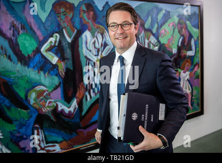 Berlin, Germany. 29th May, 2019. Andreas Scheuer (CSU), Federal Minister of Transport and Digital Infrastructure, attends the Federal Cabinet meeting at the Chancellery. Credit: Michael Kappeler/dpa/Alamy Live News - Stock Photo