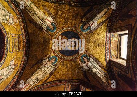 Mosaic on the ceiling of the chapel of Saint Zenon (Basilica di Santa Prassede, Rome) - Stock Photo