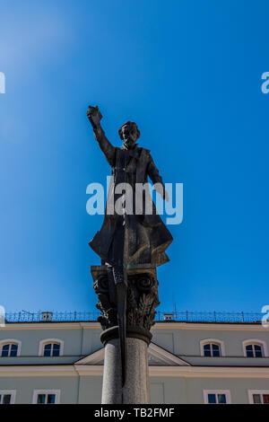 A statue of Piotr Skarga in the Old Town in Krakow - Stock Photo