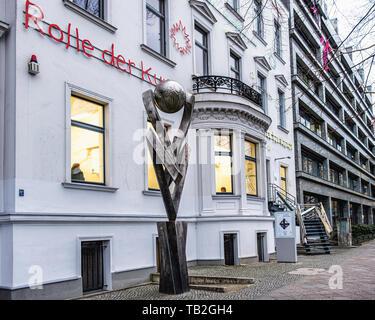 Tiergarten-Berlin,Haus am Lützowplatz. House on Lützow square, Contemporary Art gallery in 19th century building with metal staircase sculpture - Stock Photo