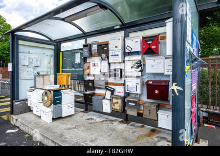 Collection of old letter boxes  in a disused bus shelter in Uferstrasse 8, Gesundbrunnen-Berlin - Stock Photo