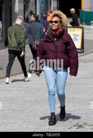 Singer-songwriter Emeli Sande during filming in her home city of Aberdeen for a new BBC Scotland series 'Emeli Sande's Street Symphony'. - Stock Photo