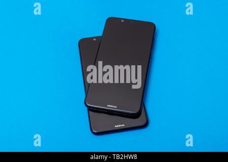Cluj, Romania - May 13, 2019: Nokia smartphone made by Nokia Corporation, a Finnish multinational telecommunications, information technology, and cons - Stock Photo