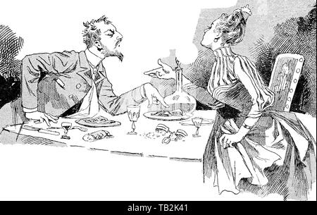 Vintage caricature: a couple is arguing at the table indifferent to the food and drink - Stock Photo