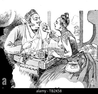 Vintage caricature: no more young lovers feeding each other with comfortable ease - Stock Photo