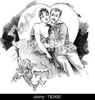 A couple of lovers under the influence of Cupid and a big heart shaped  moon - Stock Photo