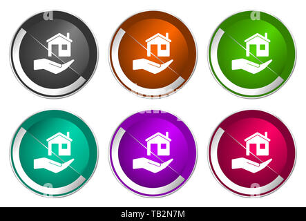 House care icon set, silver metallic web buttons - Stock Photo