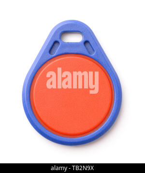 Front view of blue plastic RFID key fob isolated on white - Stock Photo