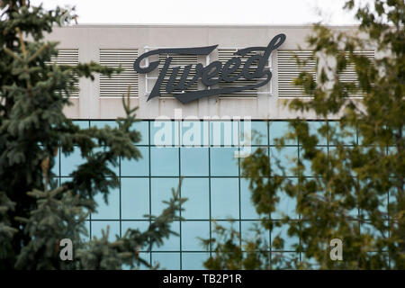 A Tweed logo sign outside of a facility occupied by Canopy Growth Corporation, Trading under the name 'Tweed' in Ottawa, Ontario, Canada, on April 20, - Stock Photo
