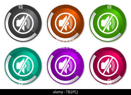 Mute icon set, silver metallic web buttons - Stock Photo