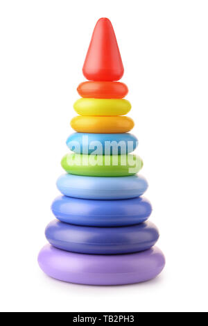 Front view of plastic toy stacking pyramid isolated on the white - Stock Photo