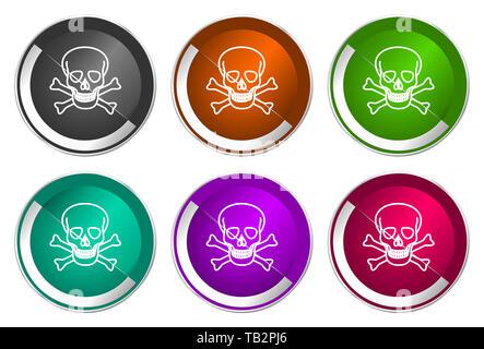 Skull icon set, silver metallic web buttons - Stock Photo