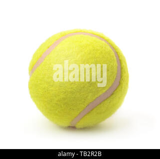 New classic single tennis ball isolated on white - Stock Photo