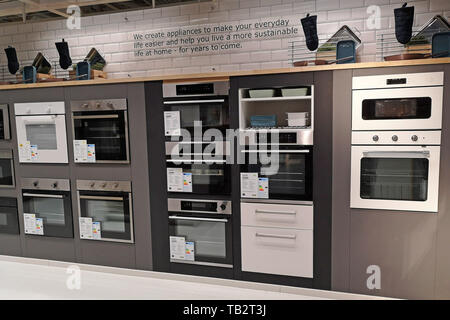 Ovens for sale on display at Ikea in Coventry, UK, on May 29, 2019. - Stock Photo